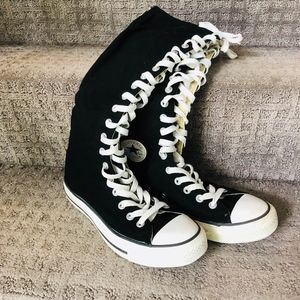 CONVERSE All Stars Knee HI Black Ladies 8.5